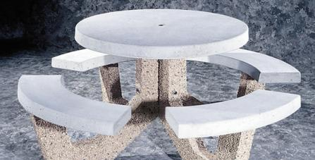 Colorstone Concrete - Round concrete table with benches